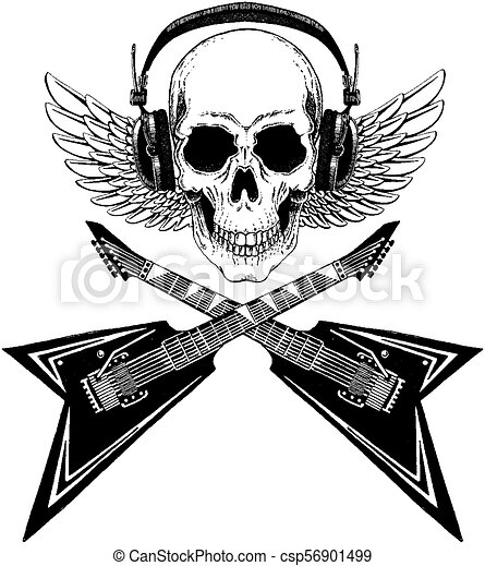 Cool vector rock music skull with headphones for t-shirt, emblem, logo, tattoo, sketch, patch - csp56901499