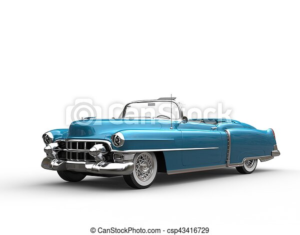 Cool vintage car - metallic blue - csp43416729