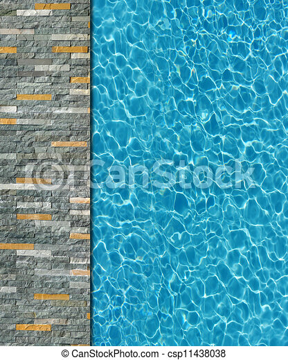 Cool water in swimming pool background - csp11438038