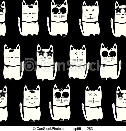 black and white cat characters cool white cats with different characters on black background, seamless  pattern background