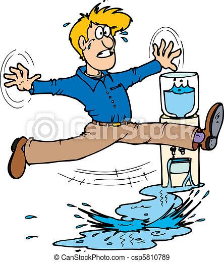 accogliente fresco grande selezione piuttosto fico Cooler slip. A man doing the splits after slipping on water from a ...