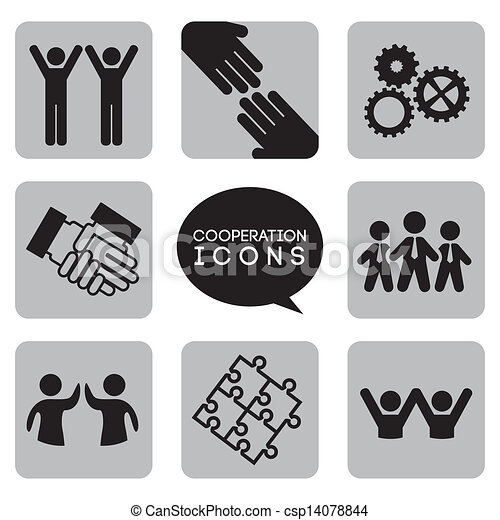 coopération, icônes, monochromatique - csp14078844