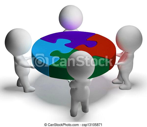 coopération, union, puzzle, résolu, caractères, spectacles, 3d - csp13105871