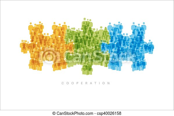 Cooperation Teamwork concept made from people icons - csp40026158