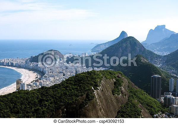 Copacabana beach aerial view - csp43092153
