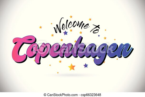 Copenhagen Welcome To Word Text with Purple Pink Handwritten Font and Yellow Stars Shape Design Vector. - csp66323648