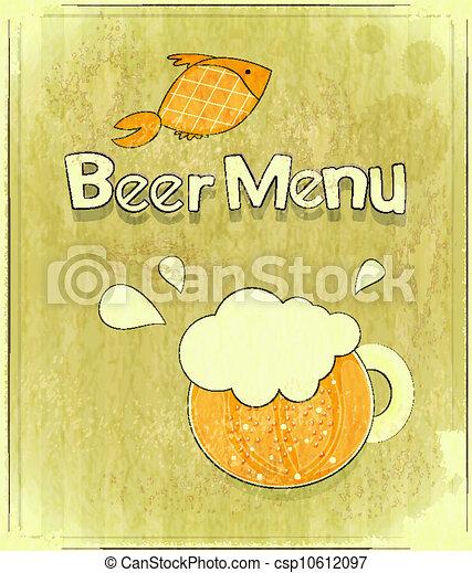 coperchio, birra, disegno, menu, retro - csp10612097