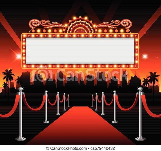 copia, dorado, espacio, casino, teatro, bandera, señal - csp79440432