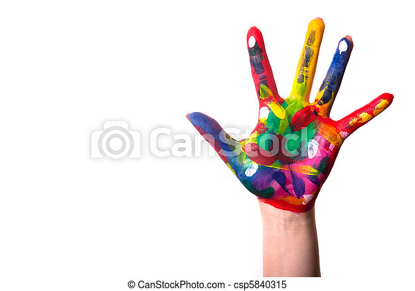 Una mano colorida con Copia Espacial - csp5840315