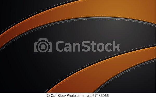 Cuero negro y rojo con sutura. Pancarta de cuero con espacio de copia. - csp67436066
