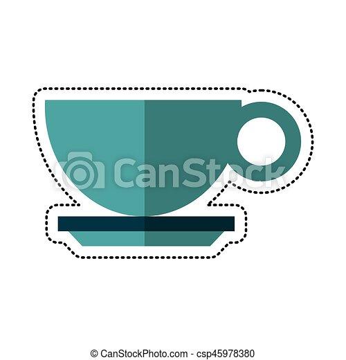 copo, bebida café, quentes, caricatura - csp45978380