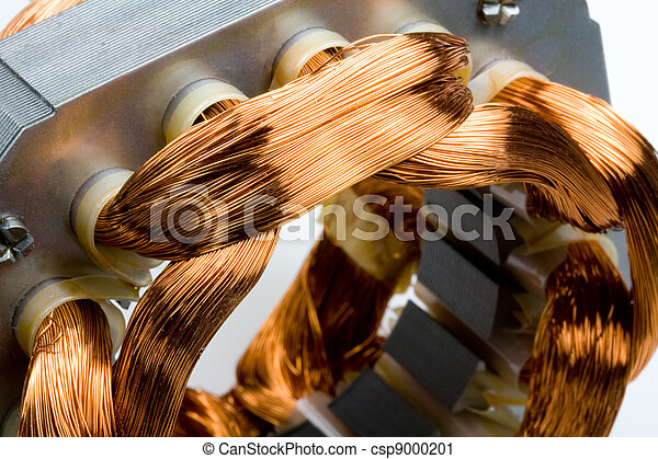 Copper Coils inside Electric Motor