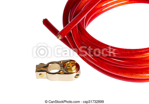 Copper electric power cable and positive contact terminal... stock ...