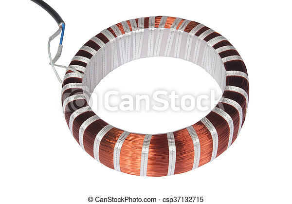 Copper electrical wire isolated on white background stock ...