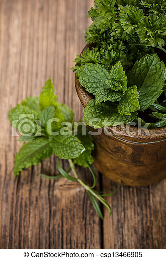 Copper mortar with herbs - csp13466905