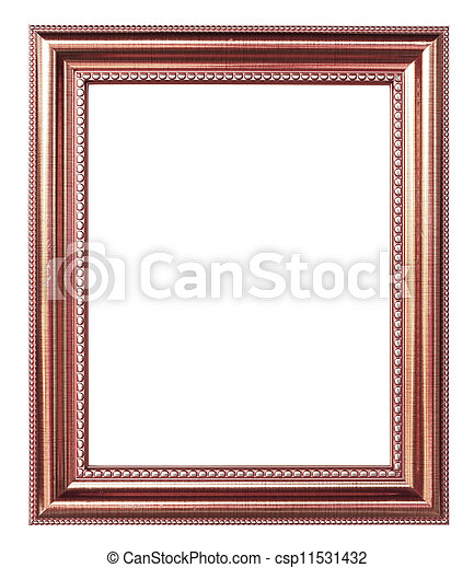 Copper picture frame on white background.