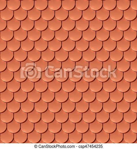 Copper tiles roof seamless vector pattern. - csp47454235