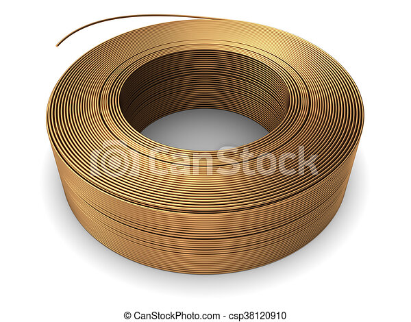 Copper wire coil. 3d illustration of copper metal wire coil over ...