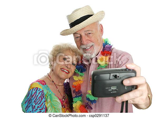 coppia, autoritratto, vacanza - csp0291137