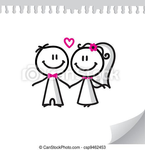 coppia, cartone animato, matrimonio - csp9462453