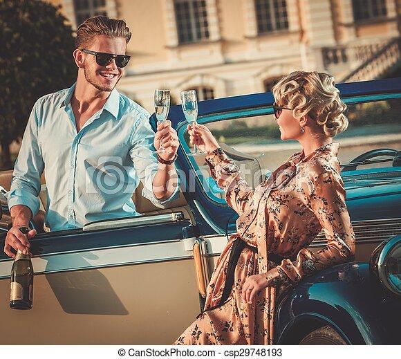 coppia, champagne, ricco, convertibile, classico - csp29748193