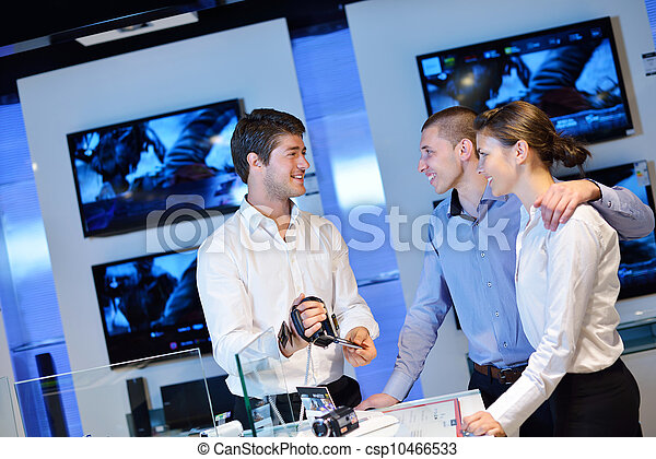 coppia, consumatore, giovane, negozio, elettronica - csp10466533