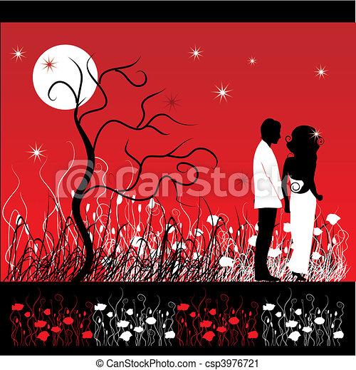 coppia, fiore, camminare, prato, notte - csp3976721