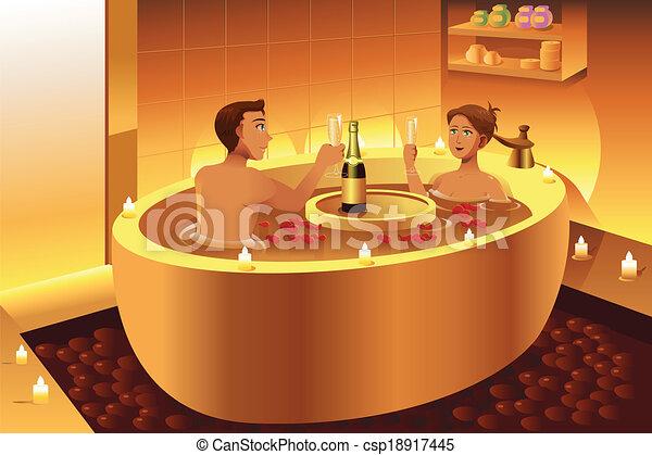Vasca Da Bagno Romantica : Coppia godere romantico bagno coppia romantica illustrazione
