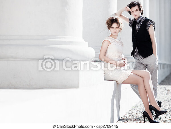 coppia, moda, giovane - csp2709445