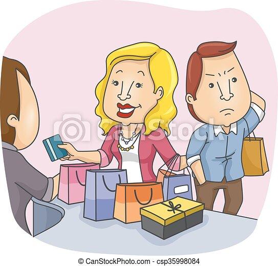 coppia, shopping, infastidito, marito - csp35998084