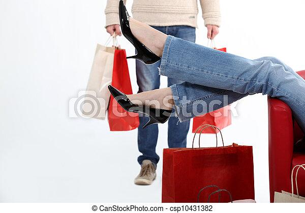 coppia, shopping, insieme - csp10431382