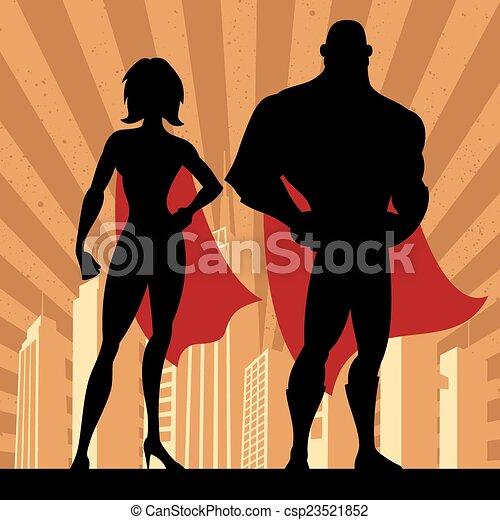 coppia, superhero, 4 - csp23521852