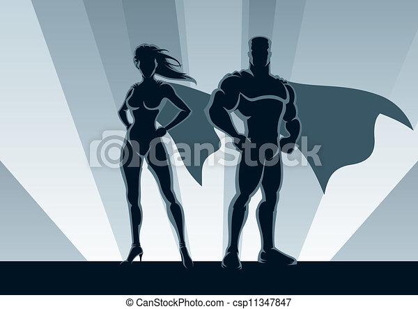 coppia, superhero - csp11347847