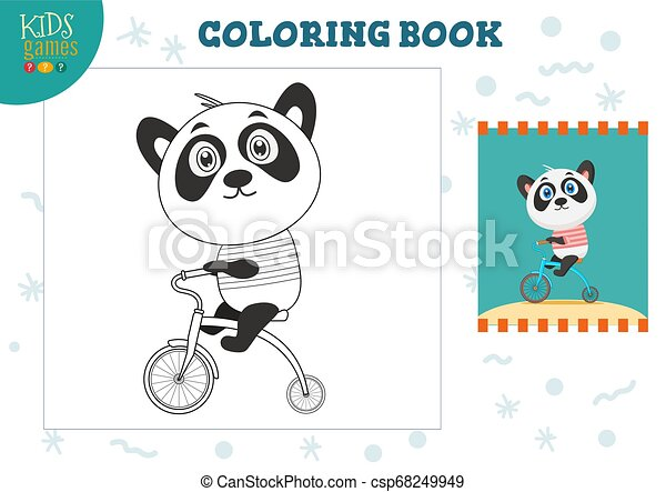 Copy And Color Picture Vector Illustration Exercise Funny Cartoon Panda With Bike For Drawing And Coloring Game For