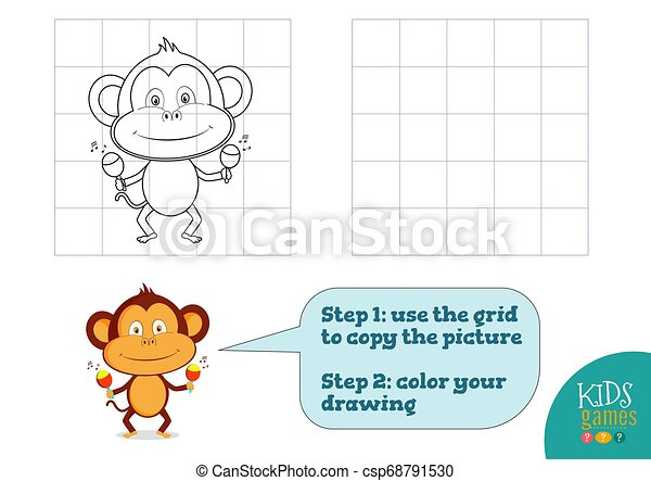 Copy And Color Picture Vector Illustration Exercise Funny Cartoon Monkey For How To Draw And Color Mini Game For Preschool