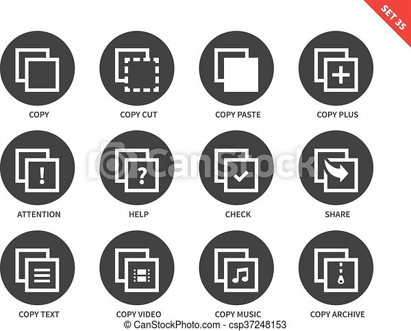 Copy icons on white background