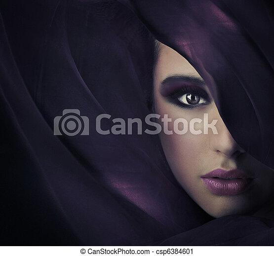 copy-space, retrato, beleza, jovem, abundância - csp6384601