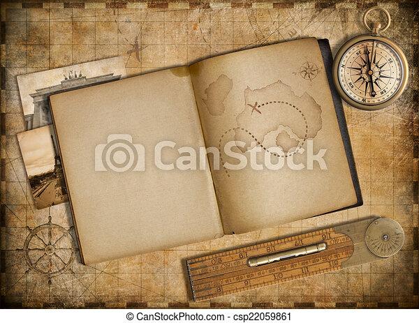 copybook, 葡萄酒, 旅行, 地圖, 冒險, 指南針, concept. - csp22059861