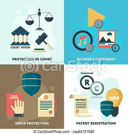 Copyright legal icon  Patient compliance quality regulations security  company vector symbols collection