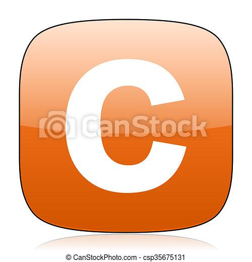 copyright orange square web design glossy icon - csp35675131