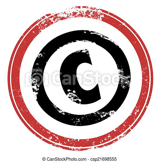Copyright Red Stamp Symbol C Intellectual Property Protection