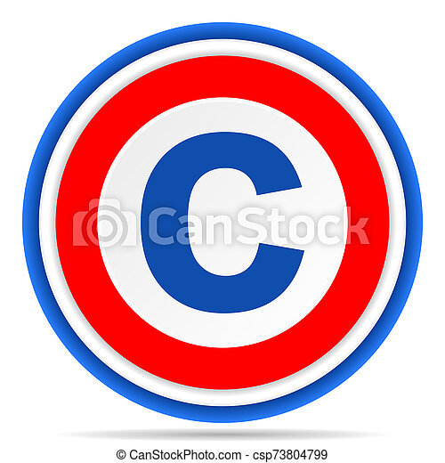 Copyright round icon, red, blue and white french design illustration for web, internet and mobile applications - csp73804799