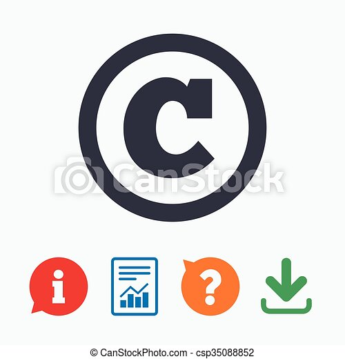 Copyright Sign Icon Copyright Button Information Think Bubble