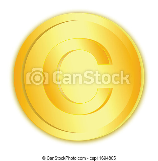 Copyright sign in gold coin - csp11694805