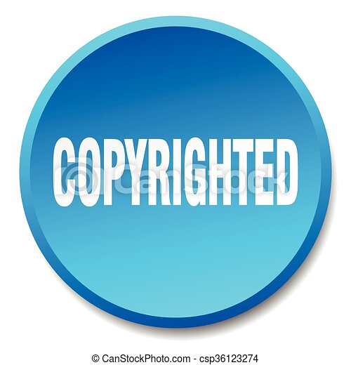 copyrighted blue round flat isolated push button - csp36123274