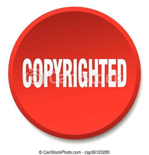 copyrighted red round flat isolated push button - csp36123280