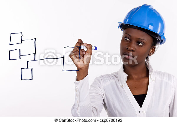 copyspace image of woman with hard hat making a drawing