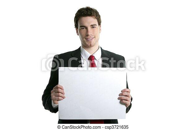 Papel blanco del espacio, joven apuesto hombre de negocios - csp3721635