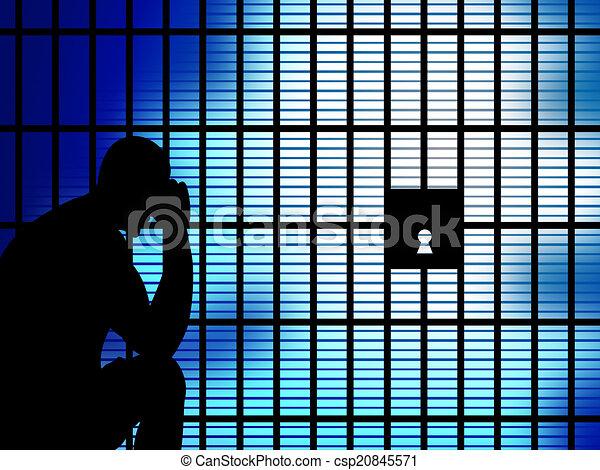 La cárcel de Copia Espacial significa estar bajo custodia y cautivo - csp20845571