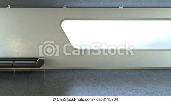 copyspace, mur, divan, fenêtre, noir, interrior - csp3115704